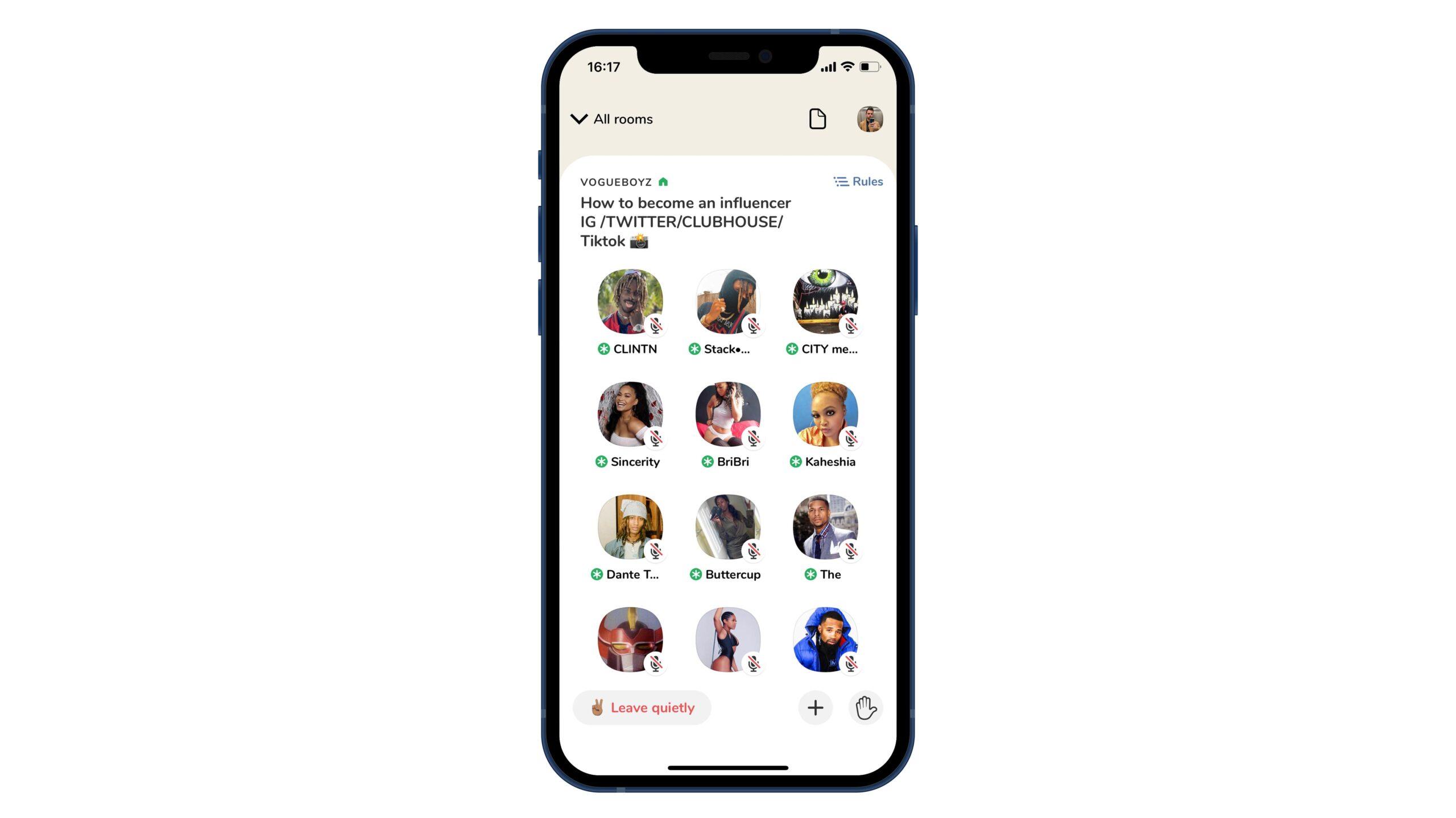 Een in-app screenshot van Clubhouse.