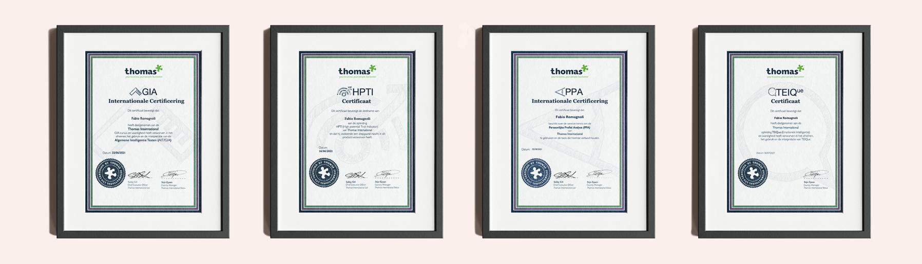 Tunity x Thomas certificaten