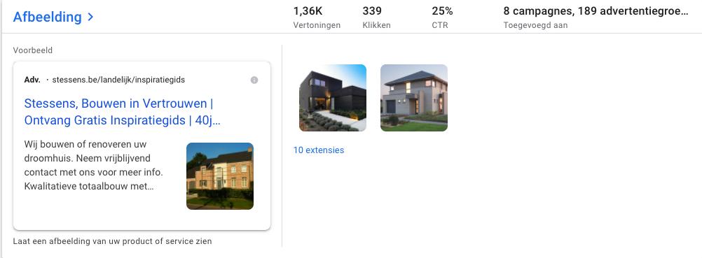 google ad image extensions bouwbedrijf stessens